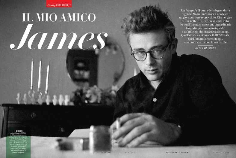23_James Dean on the cover of Vanity Fair Italia photographed by Dennis Stock. Robert Pattison will play Stock, a LIFE magazine photographer, in an upcoming